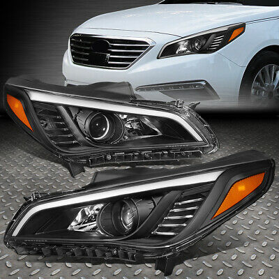 For 15-17 Sonata Pair Black Housing Amber Corner Projector Headlight Head Lamps