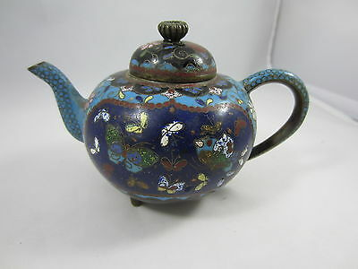 Small VINTAGE Cloisonne Enamel BRASS TEA POT Chinese Asian Butterfly Floral Blue