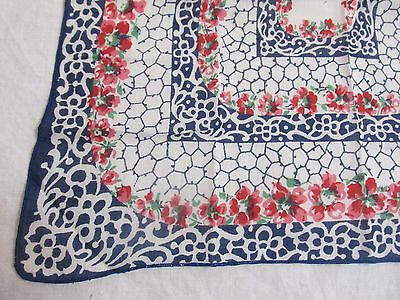 "Vintage Handkerchief Red White Blue Floral 11.25"" x 11.25"""