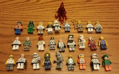 Lego lot of 28 Minifigures including Octopus Star Wars Shark others