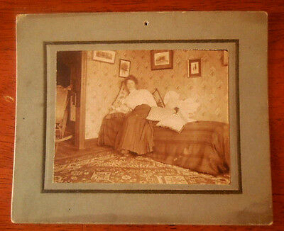 Vintage Cabinet Photograph ~ Young Woman Posing On A Bed