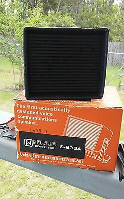 Vintage Herald S-835A Voice Communications Speaker Mint in Box