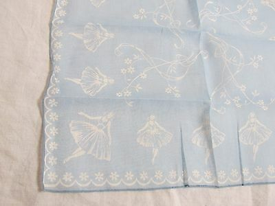 Vintage Handkerchief White on Blue Ballerina Synthetic fabric?