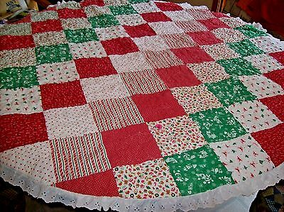 "Vintage 56"" Round Quilted Christmas Tablecloth w/Eyelet Trim"
