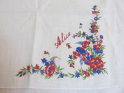 "Vintage Handkerchief Name ""Alice"" 11.5"" x 11.5"""