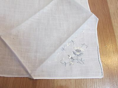 Vintage Handkerchief White on White 8.25""