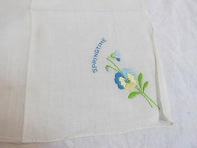 "Vintage Embroidered Handkerchief ""Springtime"" 10.5"" x 10"""