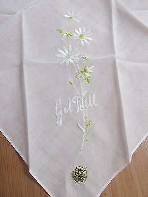 "Vintage Embroidered Handkerchief ""Get Well"" 10.5"" x 10.5"""