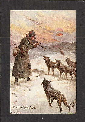 Tuck Oilette Postcard:  Russian Man Playing His Clarinet To Keep Wolves At Bay
