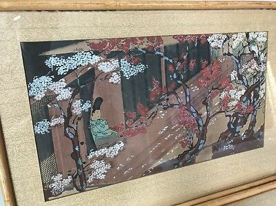 Pair of Beautiful Asian Oriental Art Framed with Bamboo Frames