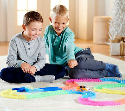 165 Pieces Bend Flex Twister Glow in the Dark 2 Cars Magic Tracks Amazing Racing