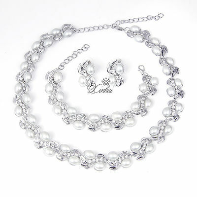 Fashion White Pearl Necklace Earring Set Silver  Plated Rhinestone Jewelry Sets