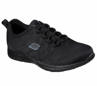 77211 Work Black Skechers Shoes Women Memory Foam Slip Resistant Comfort Jersey