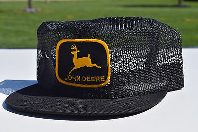 Vintage John Deere Black Hat Cap Mesh Yellow Emblem Trucker Snap back QTY 1