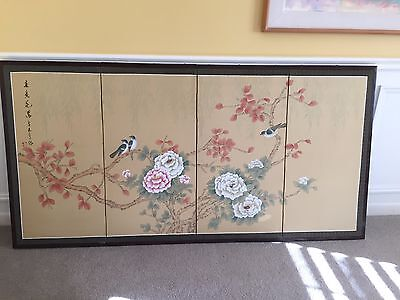 Oriental Japanese Chinese Silk Folding Screen 4 Panels Wall Decor Art