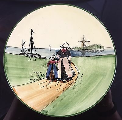 Antique Zell Germany Cream Hand Painted Dutch Mother Daughter Girl Child Plate