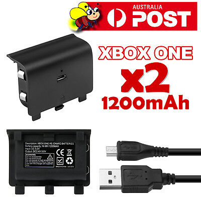 2X 1200mAh Rechargeable Battery Pack + USB Charger Cable for XBOX ONE Controller