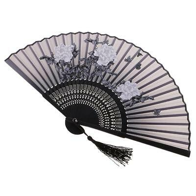 Folding Painting Flower Peony Bamboo Hand Fan for Beach Summer Accessory