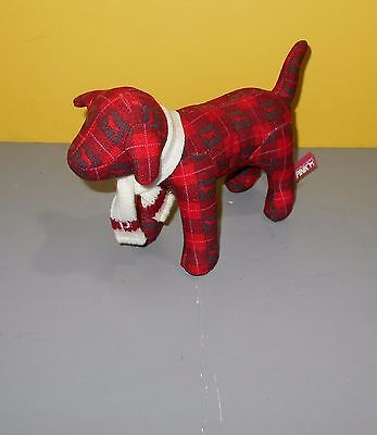 "8"" Victoria's Secret Pink Collection Plush Dog Red Plaid Scarf Stuffed Animal"
