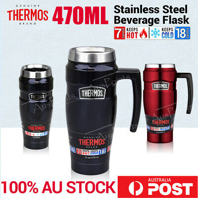 Thermos STEEL VACUUM Insulated Travel Mug Handle coffee bottle 470ml Red Blue