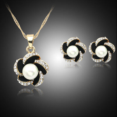 Women Dubai Wedding African Jewelry Sets Gold Plated Pearl Necklace Earrings Set