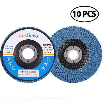 "10 Pack 4.5"" x 7/8"" 60 Grit Zirconia Flap Disc Grinding Sanding Wheels"