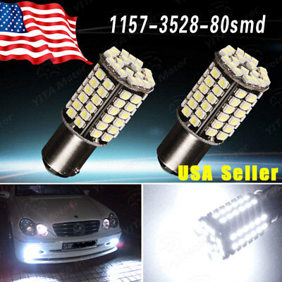 2x 6000K White 1157 80SMD LED Tail Brake Stop Daytime Running Light Bulbs 7528