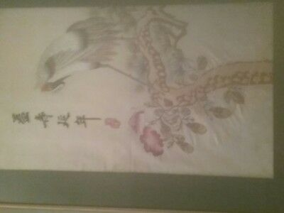 Chinese Embroideries  1Framed red crested Crane plus 5 piecesBeautiful very old