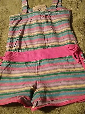 NEW Girls Romper 10-12 Pink striped Sleeveless Shorts Outfit Jumpsuit