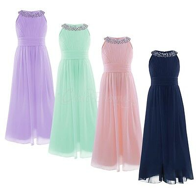 Kids Chiffon Dress Girl Flower Party Formal Wedding Bridesmaid Pageant Prom Gown