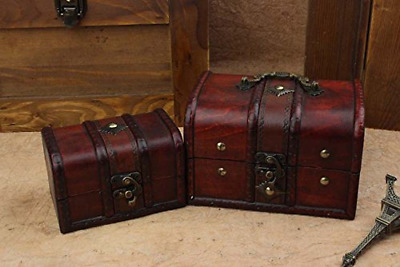 2pcs Wooden Jewelry Box Storage vintage small Treasure Chest Crate Case Gift
