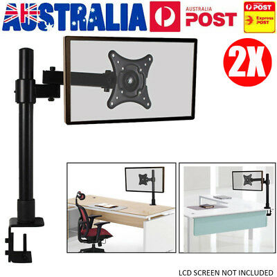 "2PCS 13-27"" Single Screen HD LCD Monitor Mount Stand Pole Bracket Tilt & Swivel"