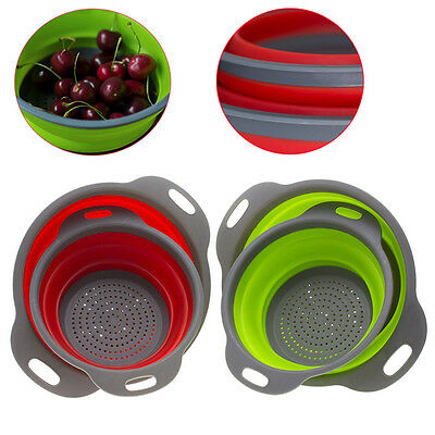 2pcs Kitchen Collapsible Sink Silicone Colander Strainer Drain Fruit Cook Basket