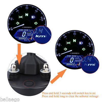 LCD Digital Motorcycle Digital Speedometer Easy Assembly Waterproof IP65
