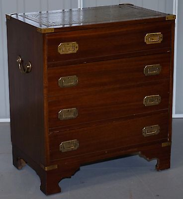 Mahogany Wood Veneer Military Campaign Chest Of Drawers Brass Fittings & Handles