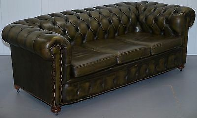 Vintage Coil Sprung Base Chesterfield Gentleman's Club Sofa Hand Dyed Leather