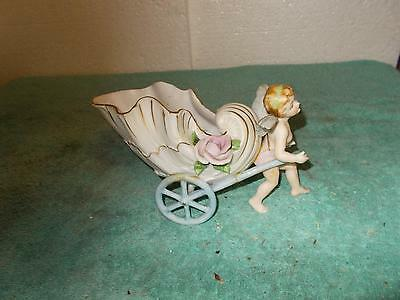 Vintage Bisque Porcelain Pretty Little Girl Angel With Cart Raised Flowers Flaws