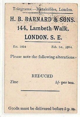 PP99 1894 GB STATIONERY POSTCARD London Telegram Co. Halesworth{samwells-covers}