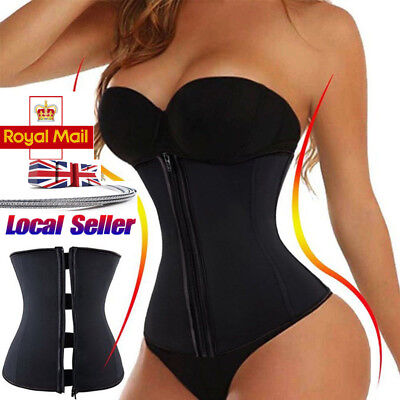 Zipper Latex Body Shaper Waist Trainer Training Cincher Corset Zip Girdle Belt @