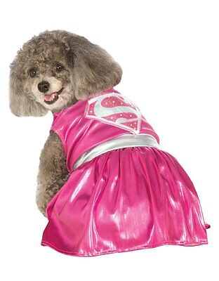 "Supergirl Pink Pet Dog Costume, Medium, Neck to Tail 15"", Chest 20"""