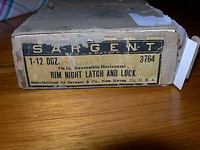 SARGENT Rim Night Latch and Lock - ORIGINAL CASE & UNUSED - Antique Door