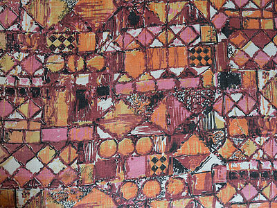 Vintage 1950's Barkcloth Curtains Geometric Abstract Design Upholstery Material