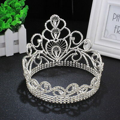 """2 Colors Heart Crystal Crown Wedding Bridal Party Pageant Prom 5.8"""" Wide 4.6"""" Hi"""