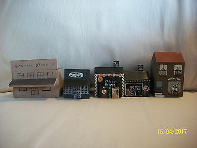 4 Wooden Saltbox Houses Candy Paint Shop Library General Store Putz Village Lot