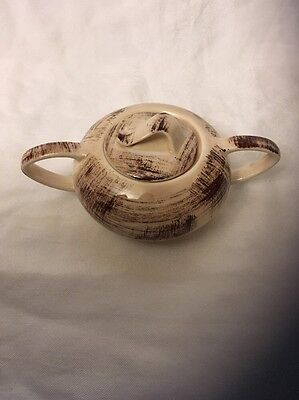 Vernon Kilns Barkwood Sugar Bowl Two Handles And Lid