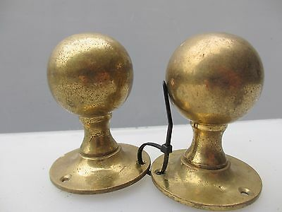 Vintage Brass Door Knobs Handles Architectural Antique Victorian Style Old