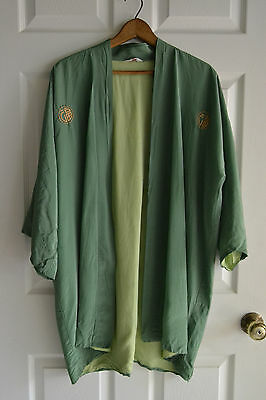 Joli Japanese Vintage Short Kimono Robe - Green  - Unique - Needs Repairs