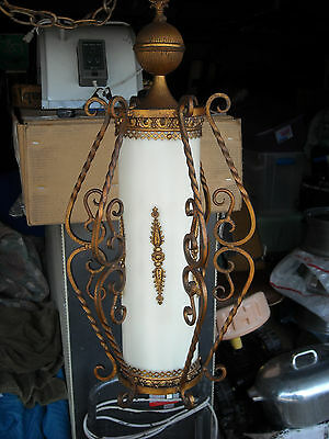 Vintage Mid Century Hanging Swag Chandelier Lamp Gold Wrought Iron Italy
