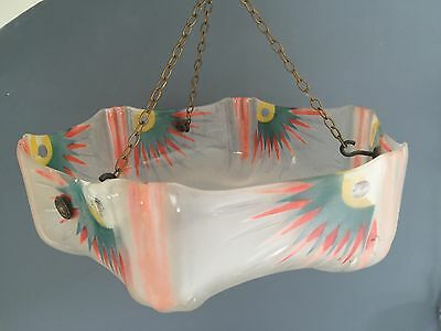 Art Deco 1930 1940 Glass Pendant Hand Painted Frosted Geometric Light Shade