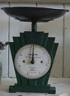 Vintage Art Deco Green Cast Iron SALTER Household Scales from England ~ with Pan